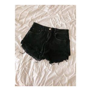 Hi Rise Destroyed Denim Shorts
